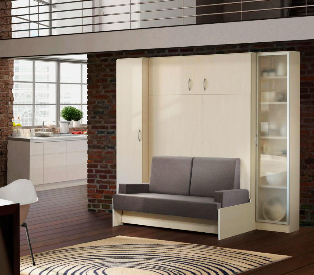 Двуспальная шкаф-кровать с диваном в гостиной