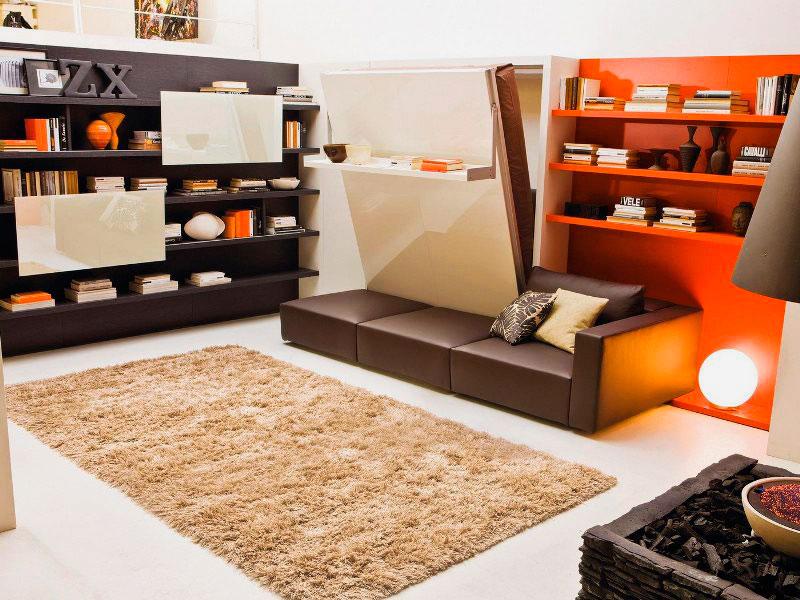 Стенка для малогабаритной квартиры с встроенной двуспальной кроватью трансформером