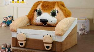 Детское раскладное кресло кровать в виде собаки