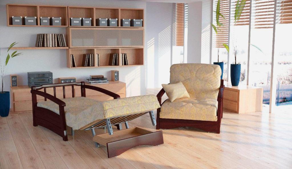 Кресла для гостиной с механизмом Аккордеон и бельевым ящиком