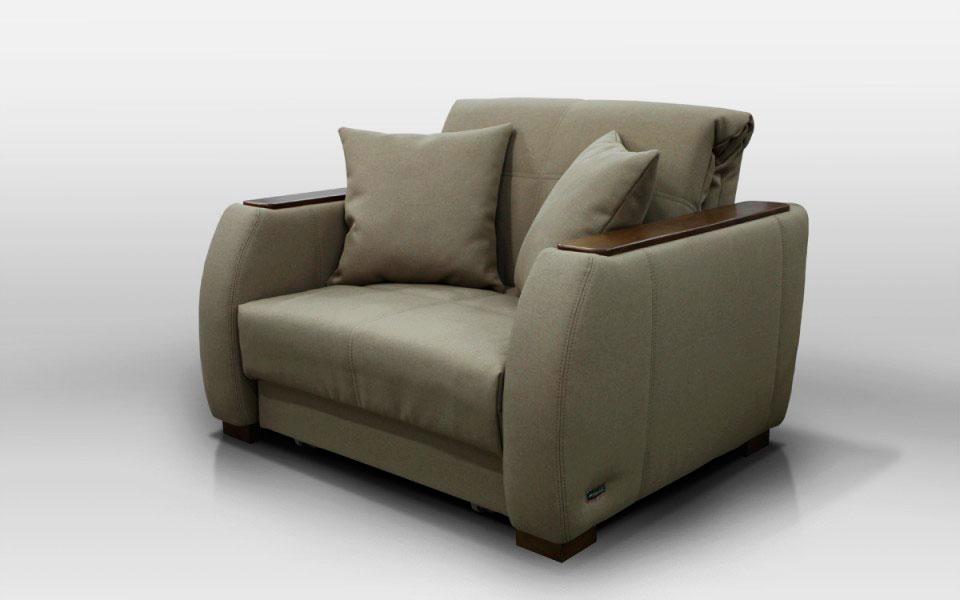 Фото мягкого кресла для гостиной с механизмом раскладывания и ортопедическим спальным местом
