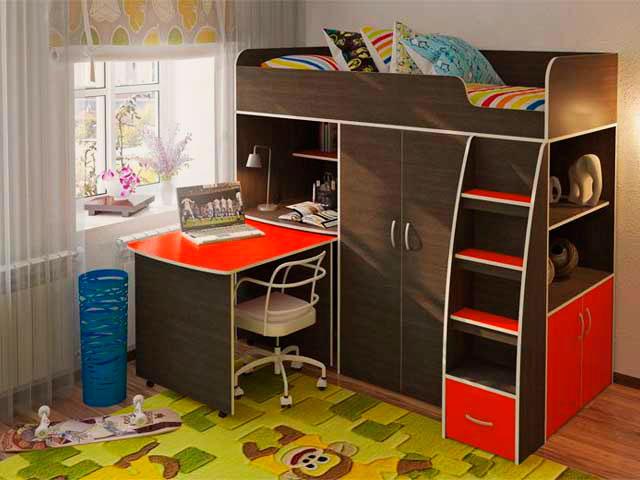Кровать-чердак для подростка со столом и шкафом