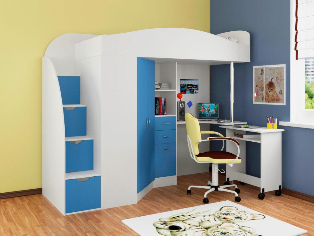 Кровать-чердак для мальчика с угловым компьютерным столом