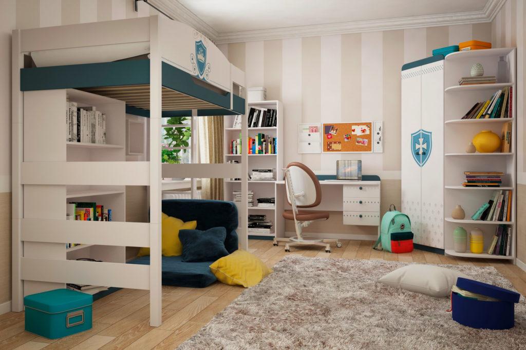 Кровать-чердак с диваном и шкафом внизу
