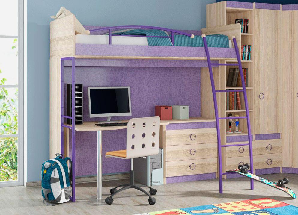 Кровать-чердак с металлической лестницей и рабочей зоной