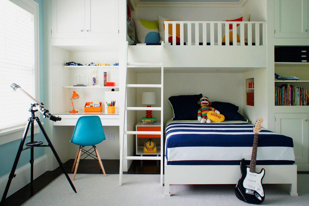 Комната подростков с кроватью-чердаком