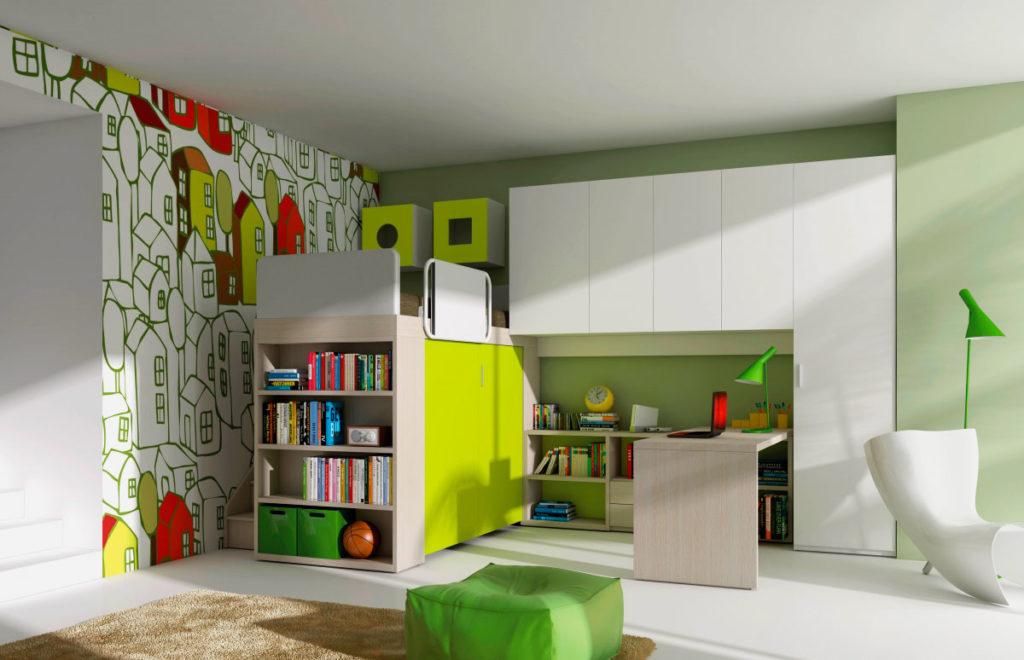 Стильный дизайн детской комнаты подростка с кроватью-чердаком в интерьере