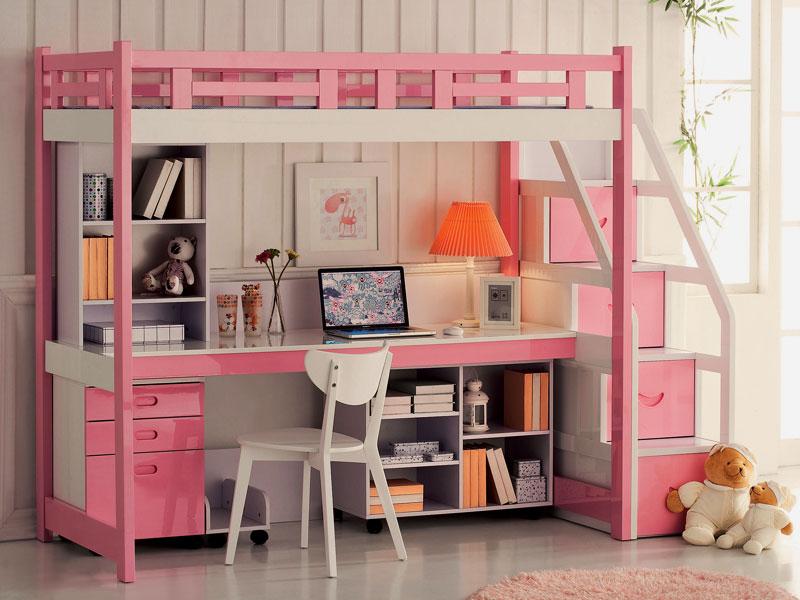 Розовая кровать-чердак для девочки подростка с рабочей зоной внизу