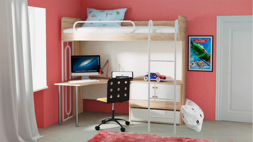 Кровать-чердак для подростка с угловым столом