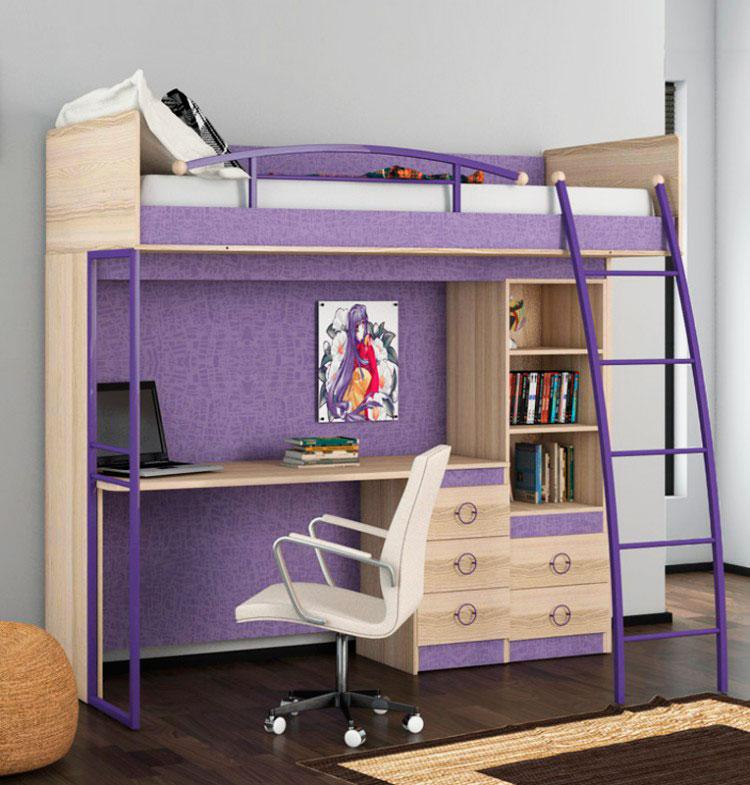 Высокая кровать-чердак для школьника с большой рабочей зоной внизу