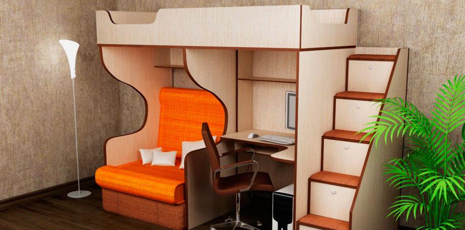 Кровать-чердак с угловым компьютерным столом и маленьким диванчиком внизу