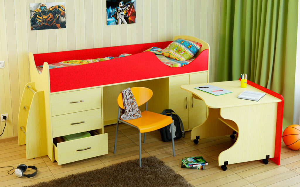 Кровать-чердак с прямым выкатным столом