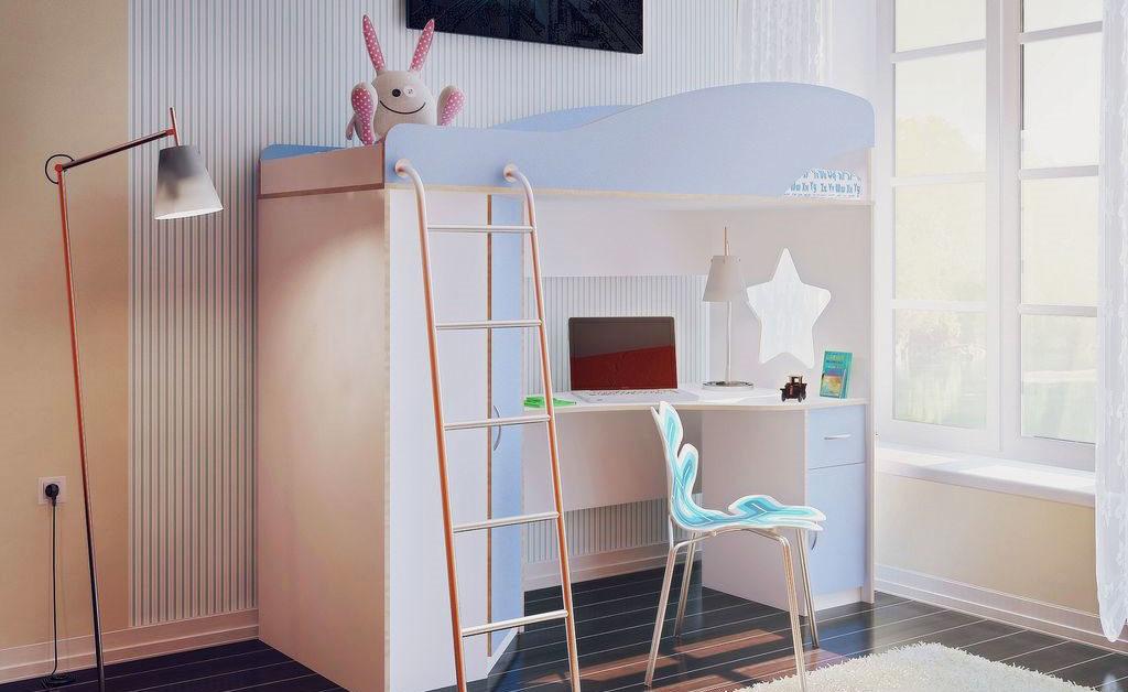 Кровать чердак с угловым столом