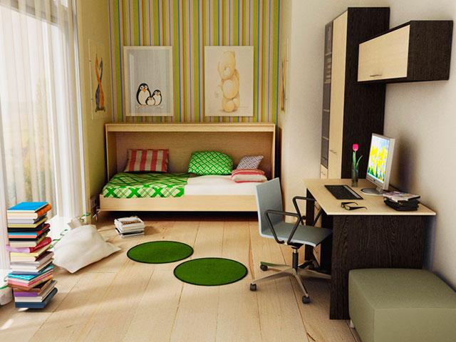 Откидная горизонтальная кровать-комод в интерьере комнаты