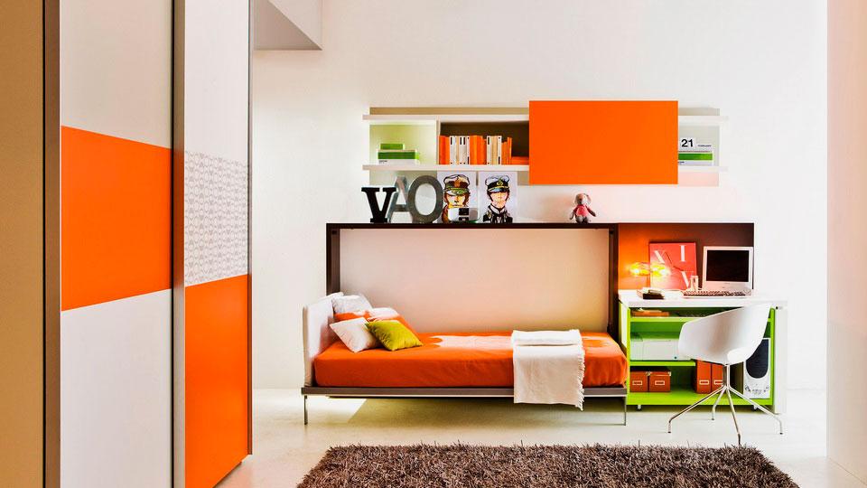 Фото современного интерьера с горизонтальной откидной кроватью