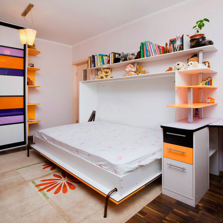 Кровать-комод в интерьере детской