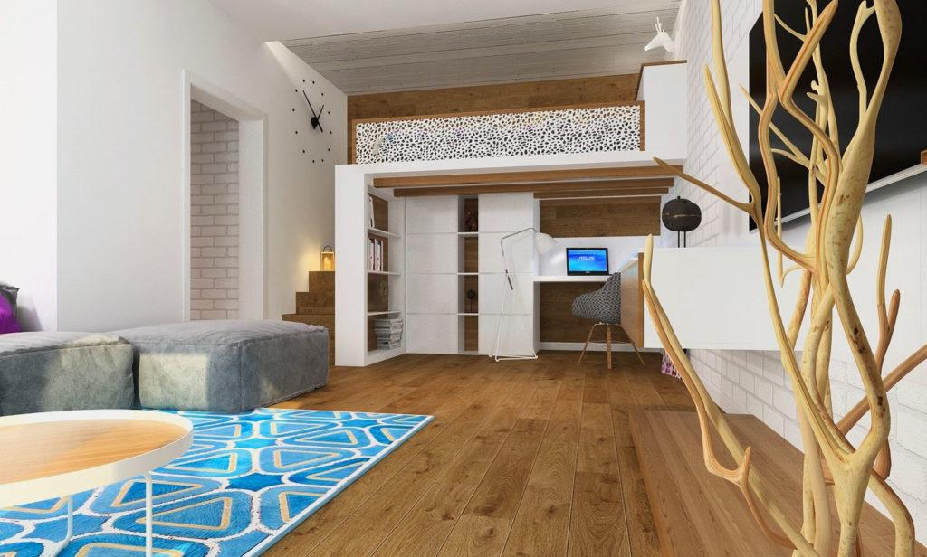 Интерьер комнаты с кроватью установленной под потолком
