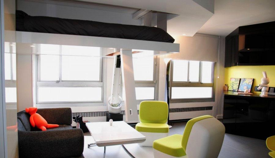 Интерьер комнаты в современном стиле с потолочной кроватью