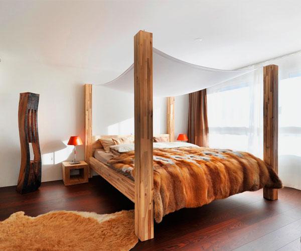 Короткий балдахин натянутый над кроватью