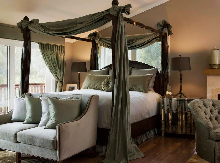 Кровать с балдахином в интерьере