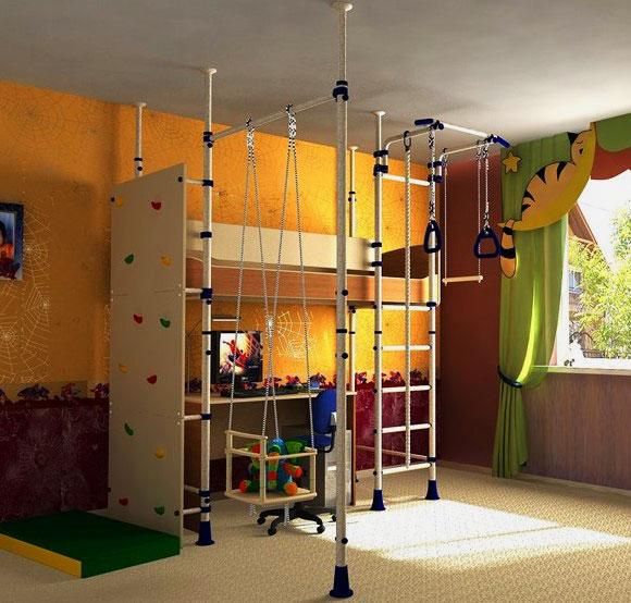 Кровать со шведской стенкой в интерьере детской комнаты