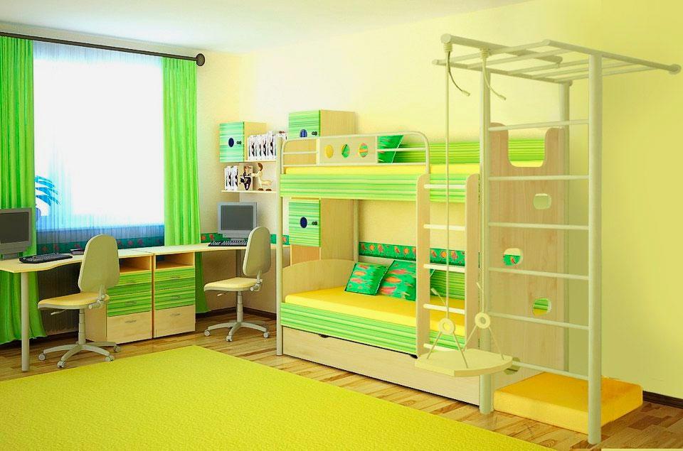 Двухъярусная кровать со шведской стенкой в интерьере детской комнаты