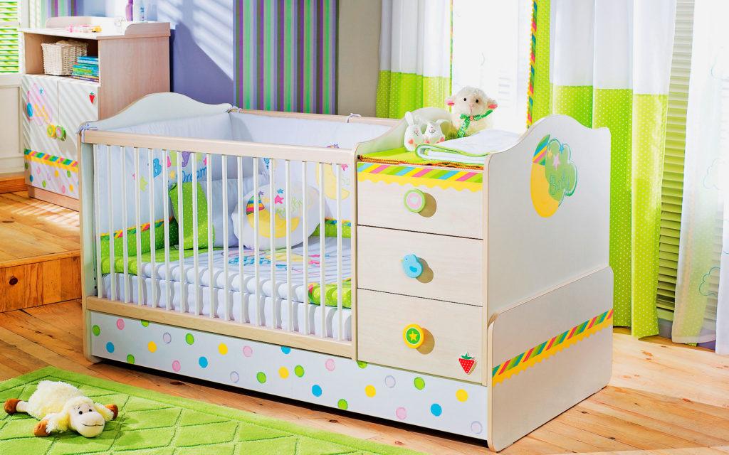 Кровать трансформер для новорожденных 3 в 1 - люлька, пеленальный столик, кровать