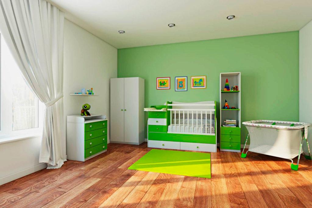 Кровать трансформер для новорожденных в интерьере комнаты