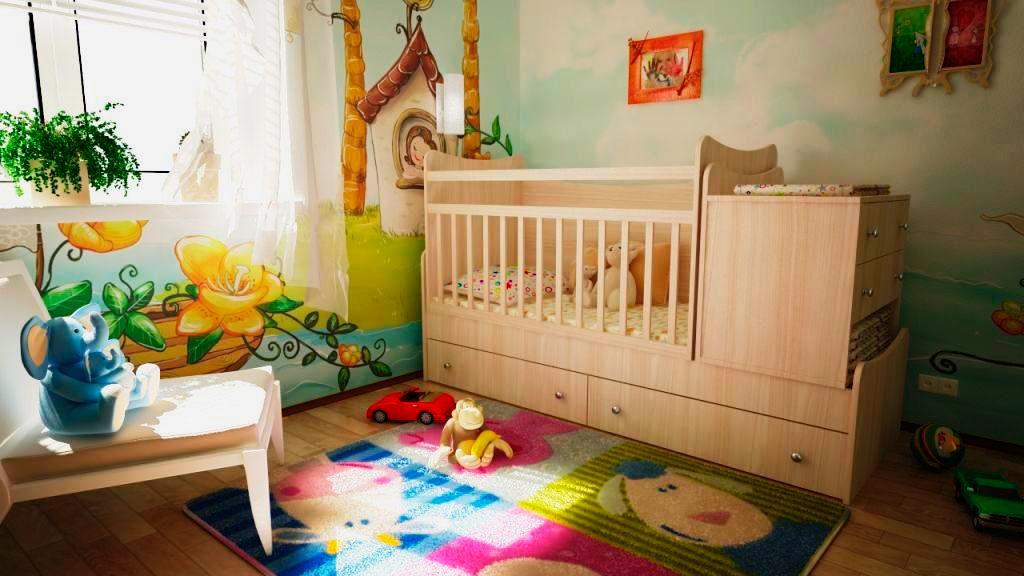 Детская кроватка трансформер с тумбой люлькой и кроватью для школьника