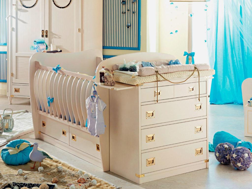 Кровать трансформер для новорожденных с пеленальным столиком