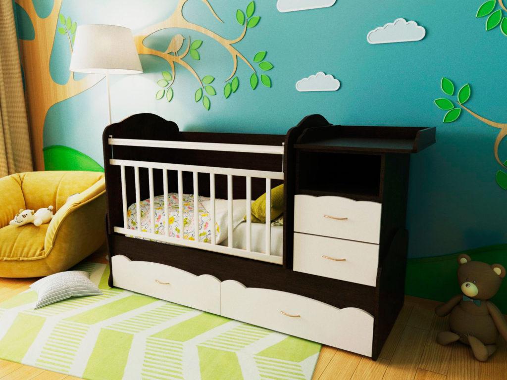 Фото детской кроватки трансформера с пеленальным столиком