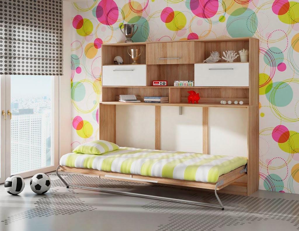 Фото трансформируемой шкаф кровати в интере комнаты мальчика подростка