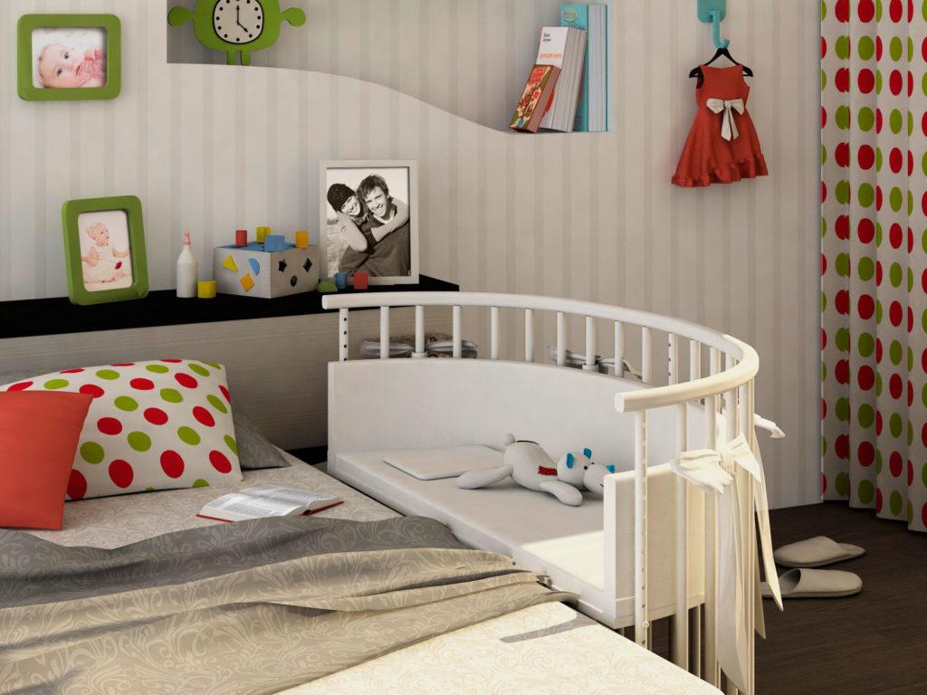 Фото приставной полукруглой кроватки для новорожденных