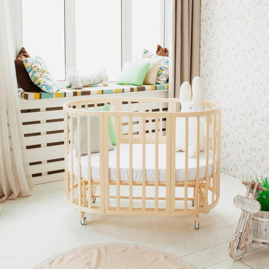 Круглая кровать трансформер для новорожденных