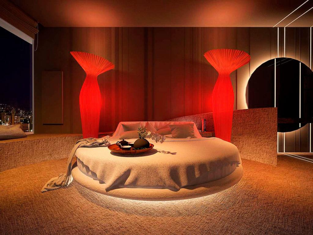 Мягкая круглая кровать на подиуме