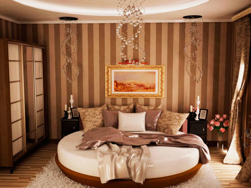 Роскошная спальня с круглой кроватью