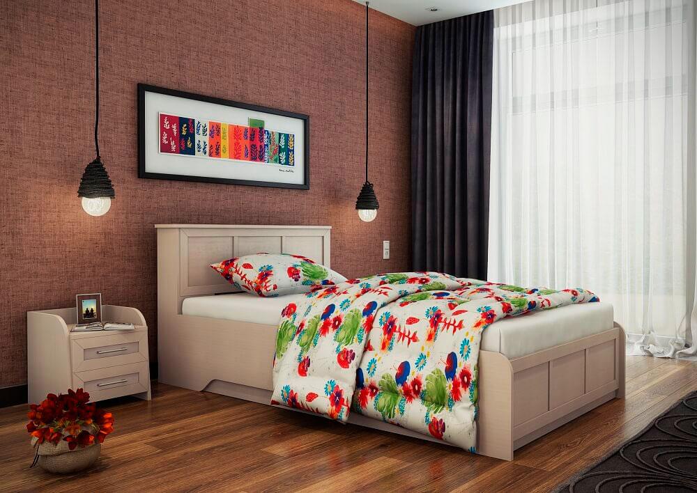 Односпальная кровать в интерьере спальни