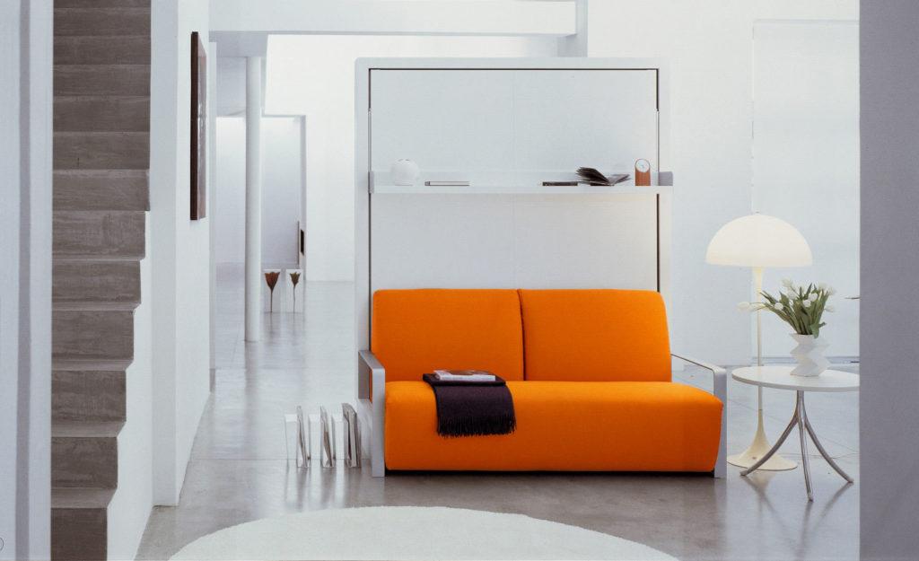 Откидная кровать встроенная в шкаф с диваном внизу
