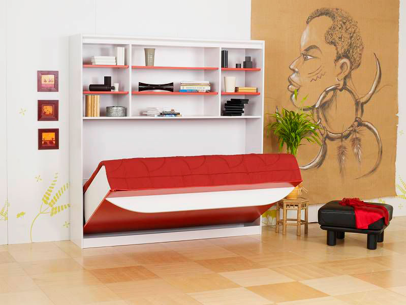 Откидная кровать встроенная в шкаф с горизонтальной системой раскладывания