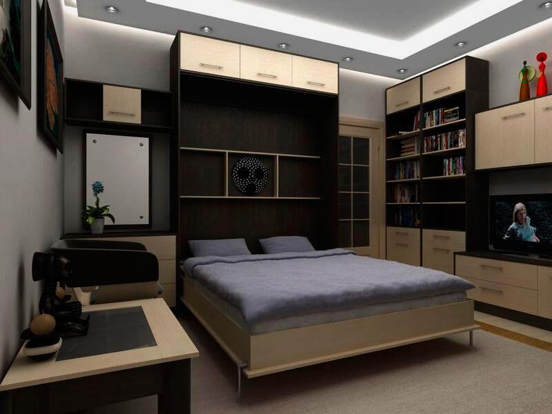Малогабаритная квартира с кроватью трансформером встроенной в шкаф