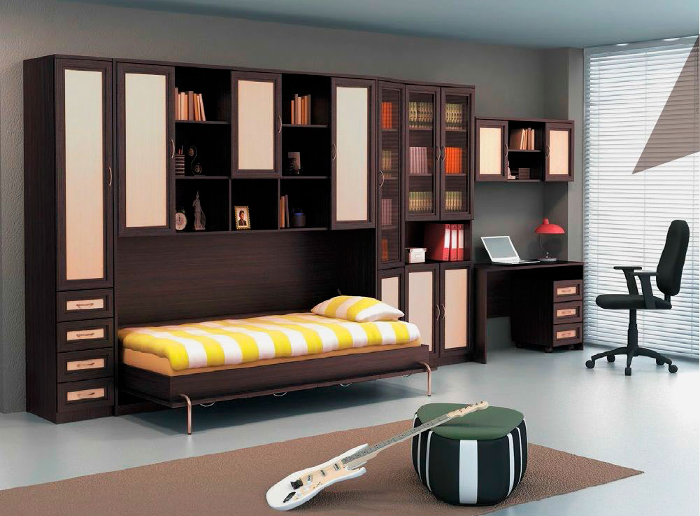 Фото откидной кровати встроенную в мебельную стенку