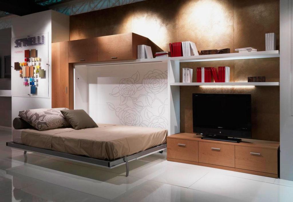 Фото кровати встроенной в шкаф имеющей ортопедическое основание на ламелях