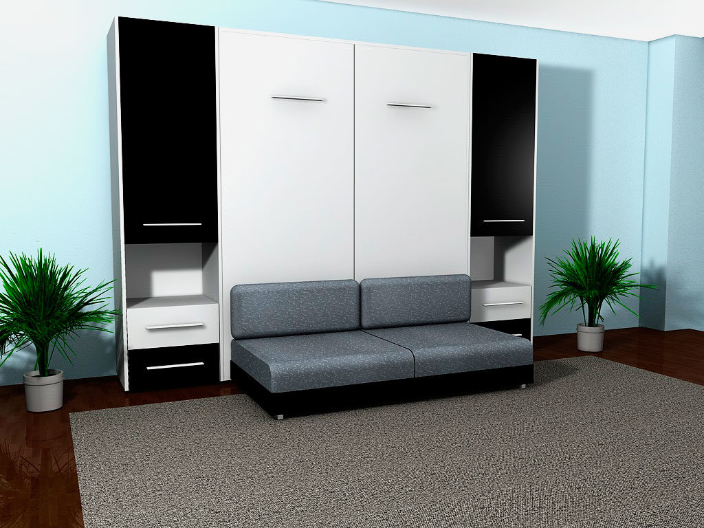 Фото фасада откидной шкаф-кровати с диваном