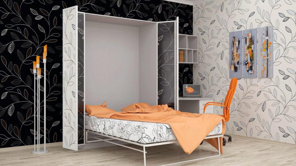Откидная кровать встроенная в шкаф с дверьми