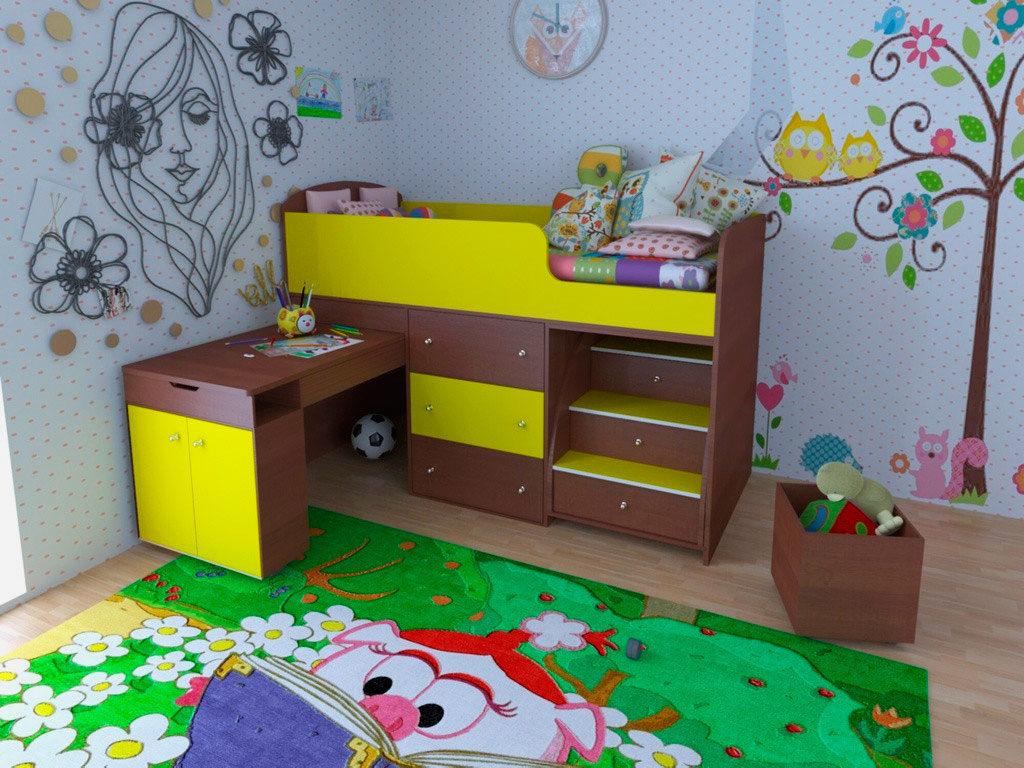 Низкая кровать чердак с выдвижным письменным столом