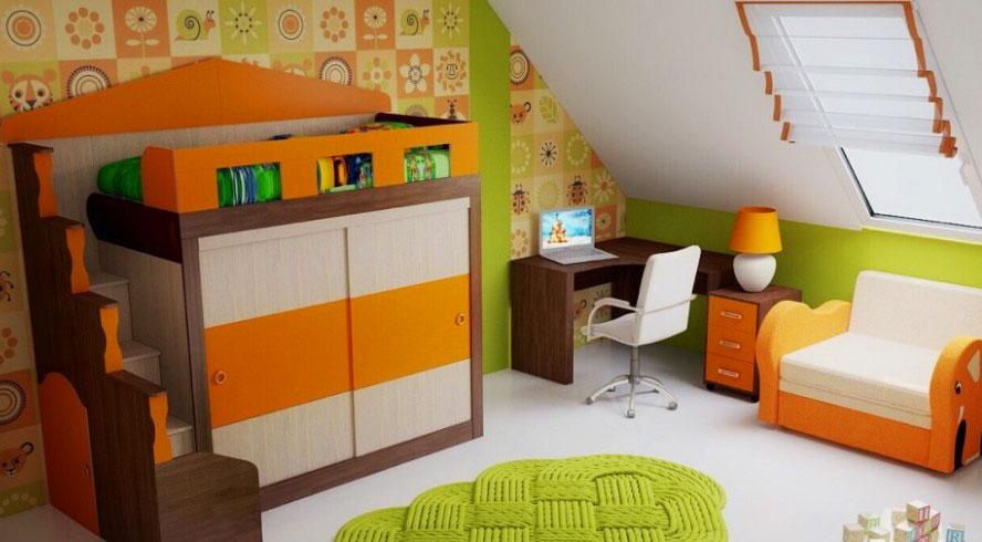 Кровать-чердак со шкафом внизу для детей