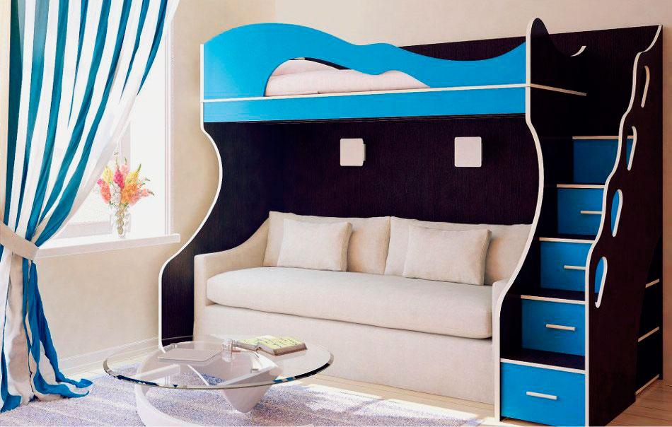 Детская кровать-чердак с прямым диваном внизу
