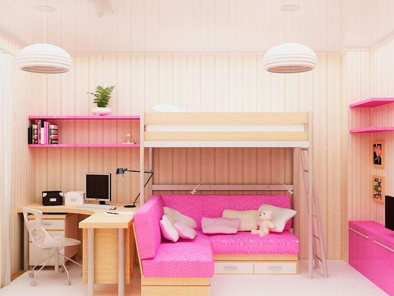 Детская кровать-чердак с угловым диваном внизу в интерьере детской комнаты
