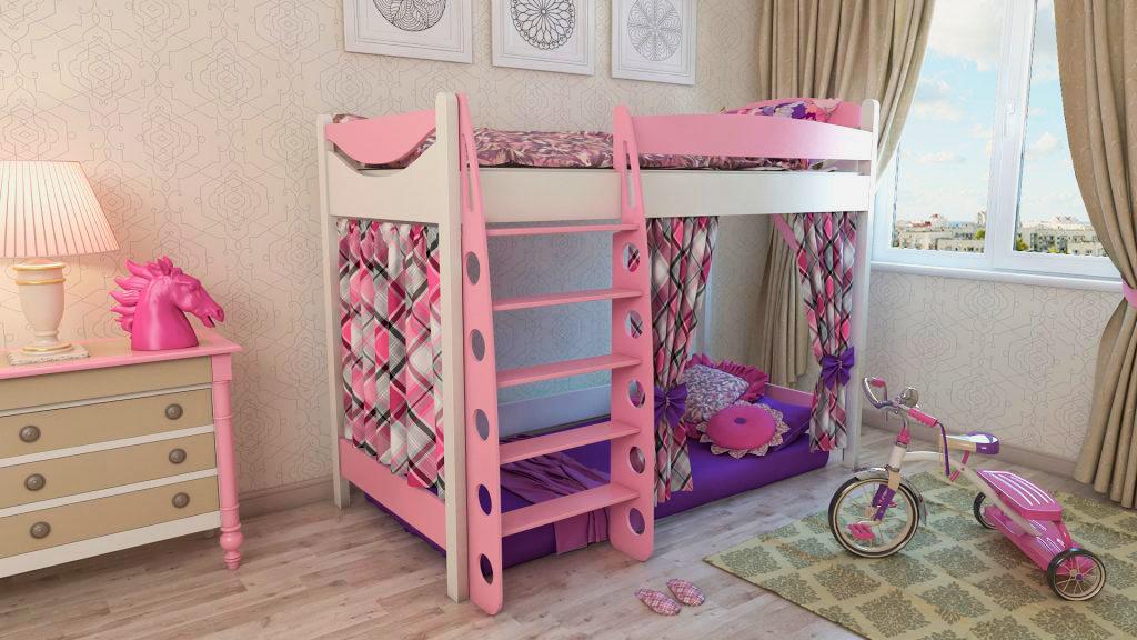 Кровать-чердак для девочки классического типа со свободным пространством внизу