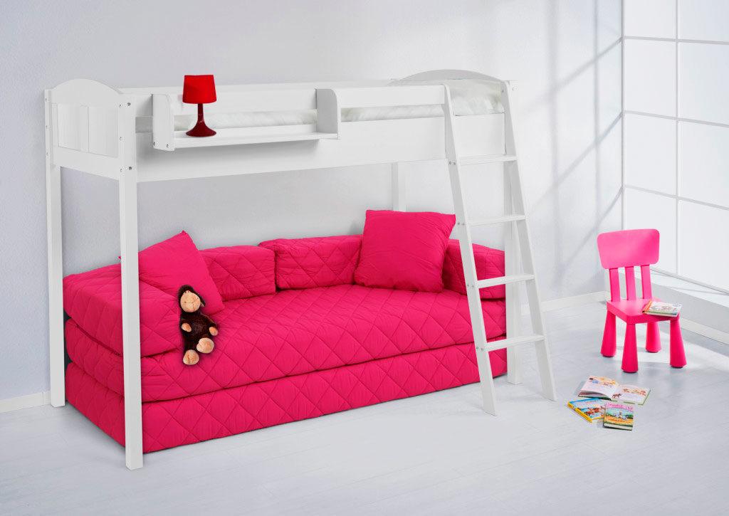 Детская кровать-чердак с розовым диваном внизу